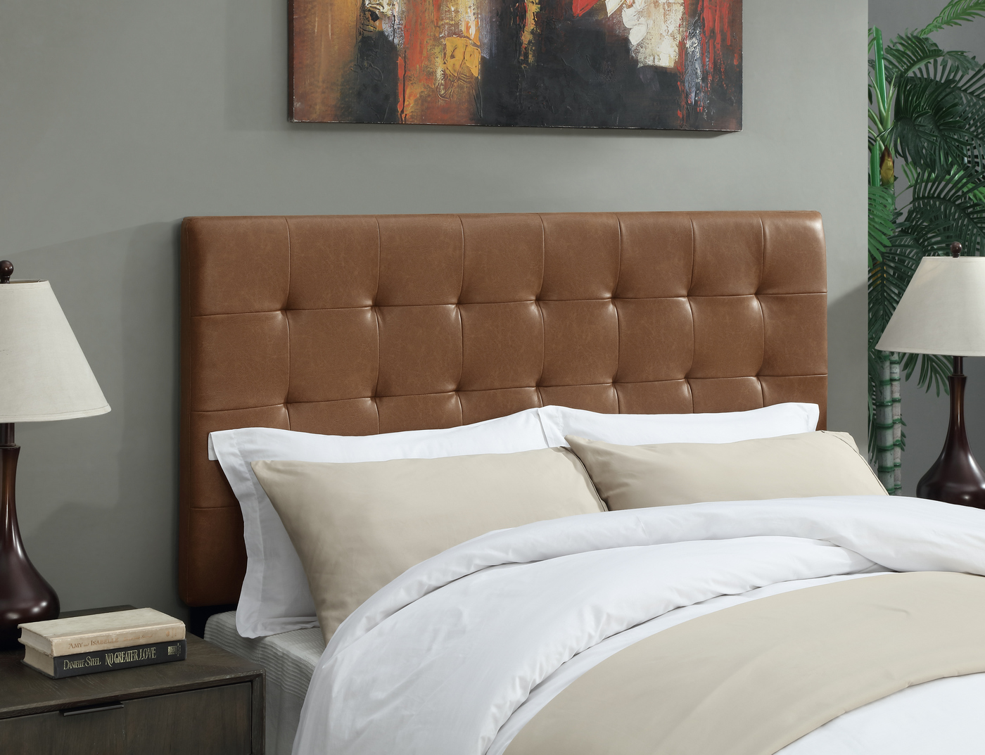 Wilburton Faux Leather Biscuit Tufted Full/Queen Headboard ... on Cognac Leather Headboard  id=95442