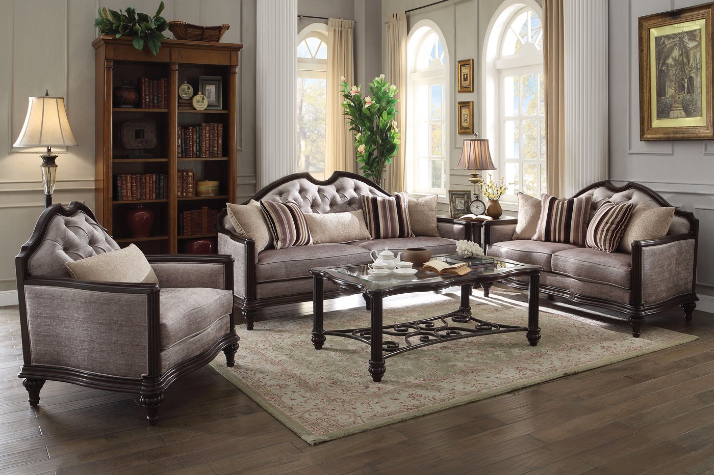 York Classic Light Grey Fabric Sofa & Loveseat Set In Dark