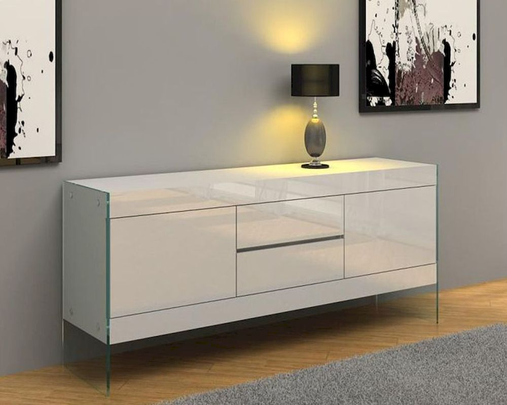 Modern White Floating Buffet 44dwht Sb