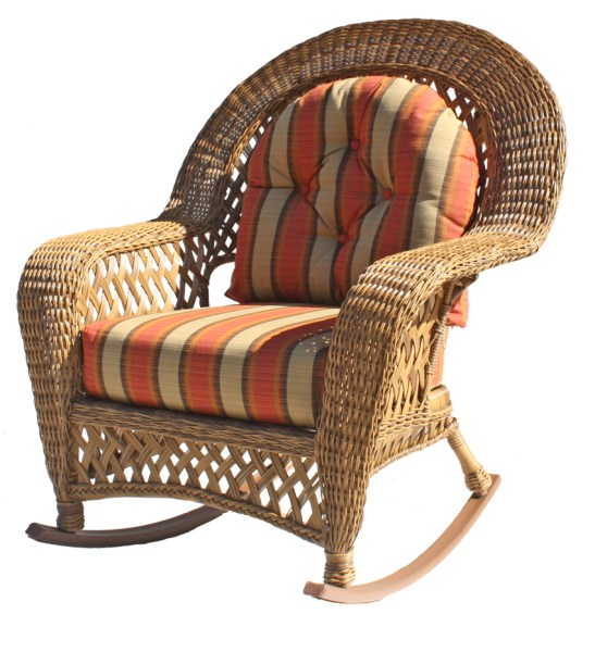 wicker patio furniture cushions Outdoor Wicker Rocker: Montauk Collection