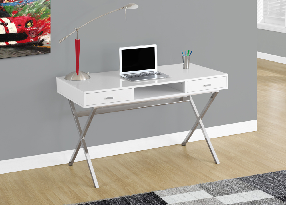Monarch Specialties Computer Desk 48L Glossy White Chrome Metal I 7211