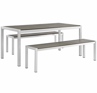 shore 3 pc silver metal gray outdoor patio dining set by modway