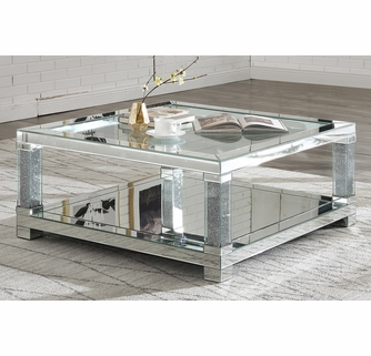 noralie mirrored square coffee table with bottom shelf by acme