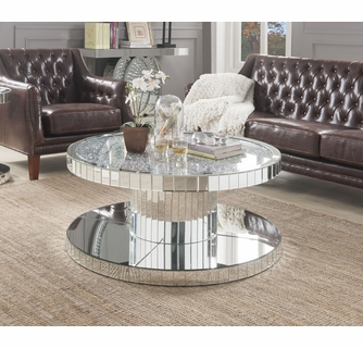 ornat mirror glass round coffee table with faux stones by acme