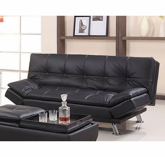 angelica black pu leather futon sofa bed by asia direct