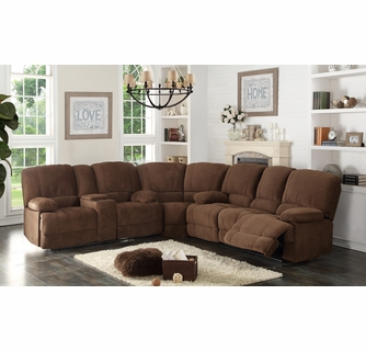 kevin 3 pc brown manual recliner sectional sofa by ac pacific