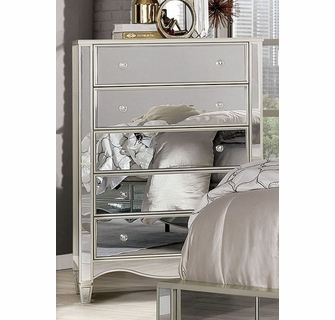 eliora silver mirrored 5 drawer chest by furniture of america