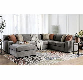 ferndale 2 pc gray sectional sofa oversized by furniture of america