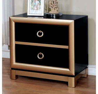 braunfels black gold wood 2 drawer nightstand by furniture of america
