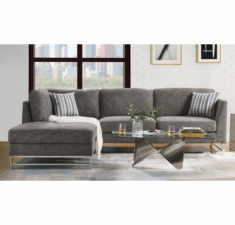 varali 2 pc gray linen laf sectional sofa by acme