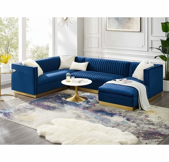 sanguine 3 pc navy performance velvet raf sectional sofa by modway