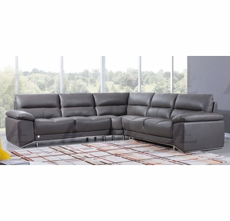 lise 3 pc dark grey leather sectional sofa by american eagle furniture