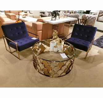 modrest javier modern gold glass round coffee table by vig furniture