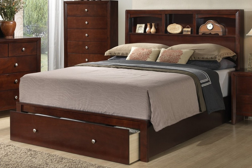 simona cherry wood cal king bed with storage by poundex