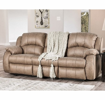 elton tan microfiber suede power recliner sofa by furniture of america