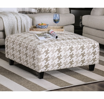 christine light gray linen like fabric ottoman by furniture of america