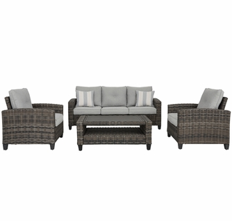 signature design cloverbrooke 4 pc gray patio set by ashley