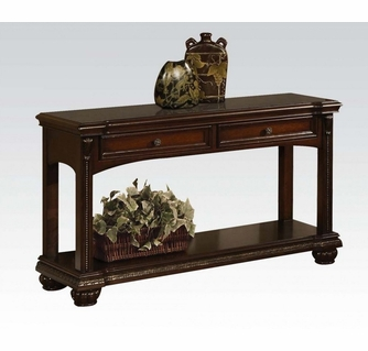 anondale cherry wood rectangular sofa table with 2 drawers by acme