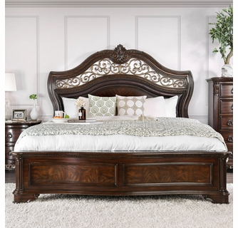 menodora brown cherry wood king bed by furniture of america