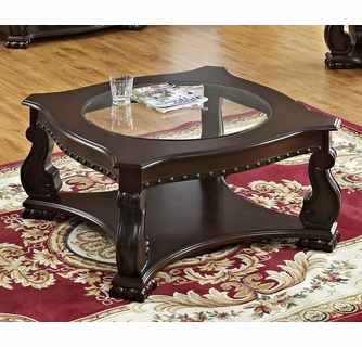 madison dark brown wood coffee table w glass top insert by crown mark