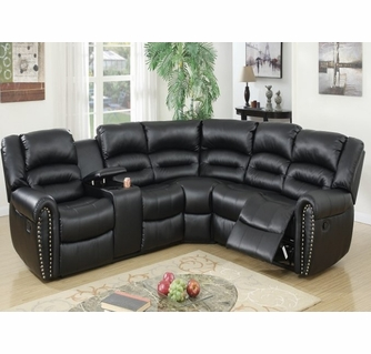leelo 3 pc black bonded leather manual recliner sectional by poundex