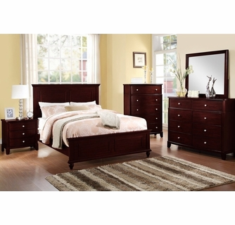 emilia 6 pc dark brown wood queen bedroom set by poundex
