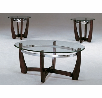 mitchell 3 pc glass dark brown wood coffee table set by crown mark