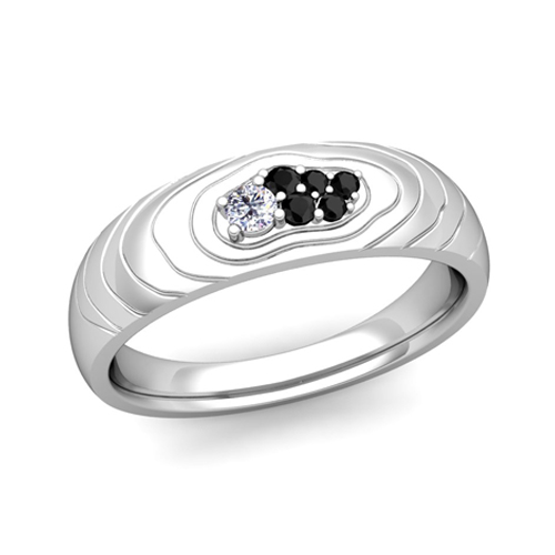 Contour Black And White Diamond Wedding Anniversary Ring
