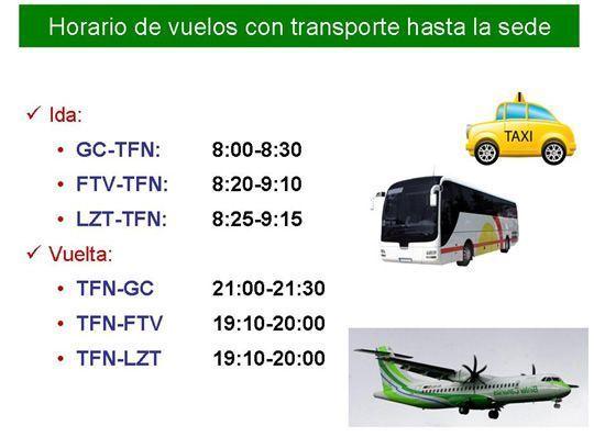 Horarios transporte desde el aeropuerto de Tenerife Norte hasta la sede de la IV Jornada de Pediatría de Atención Primaria y Extrahospitalaria de Canarias 2015
