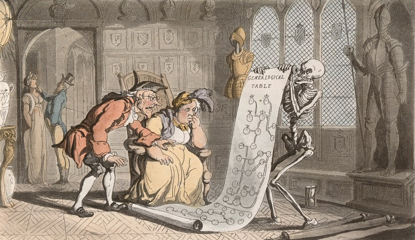 The_dance_of_death;_the_genealogist._Coloured_aquatint_by_T._Wellcome_V0041992
