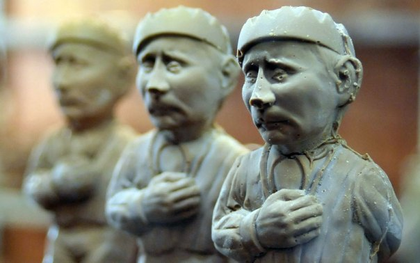 Chocolate statuettes of Russian President Vladimir Putin are on sale in one of confectioner's.