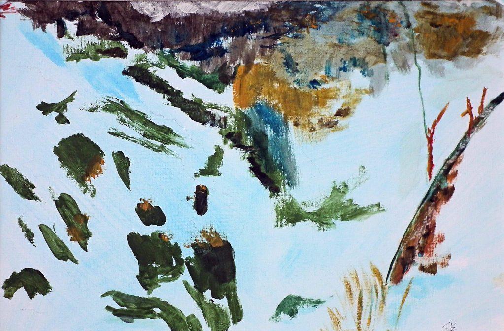 Winter scene down a mountainside in Glencoe