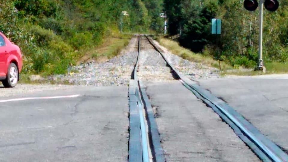 Une voie ferrée traverse un passage à niveau asphalté. Au bout du passage à niveau, on voit le rail de gauche qui dévie par rapport au rail de droite.