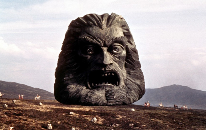 La tête flottante de Zardoz dans le film Zardoz