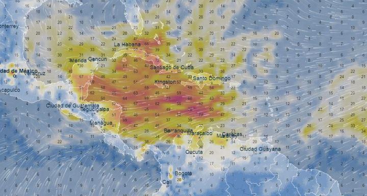 Carte radar du nuage de sable saharien le 25 juin 2020.