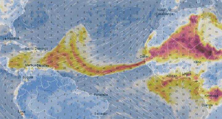 Carte radar du nuage de sable saharien le 20 juin 2020.