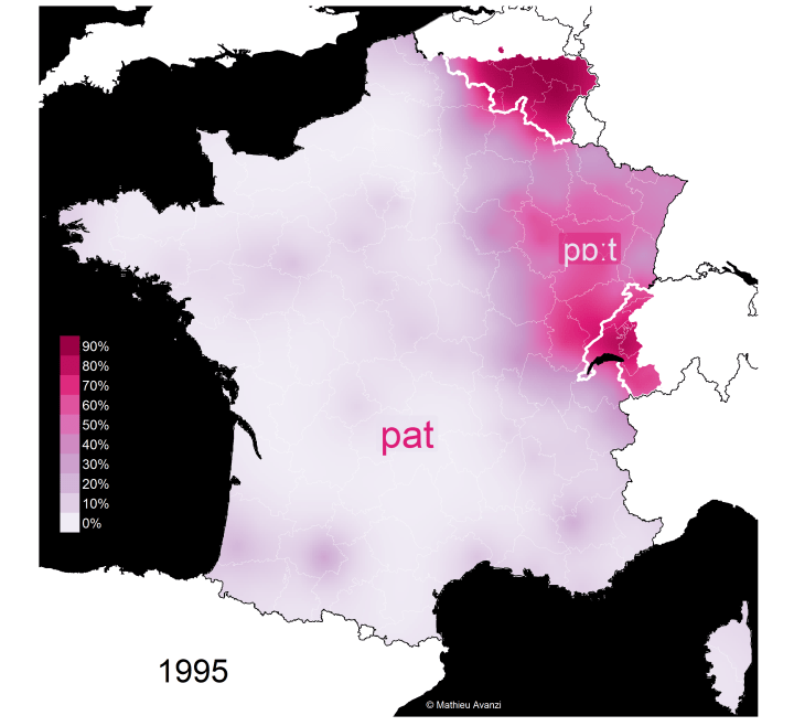 "Carte de la distinction de prononciation des mots ""patte"" et ""pâte"" en France en 1995"