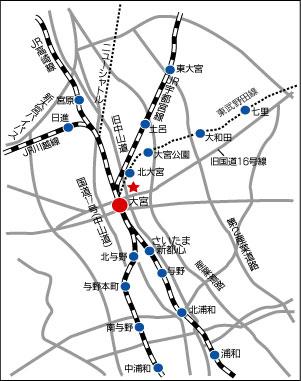 マウス大宮までの地図 さいたま市大宮区