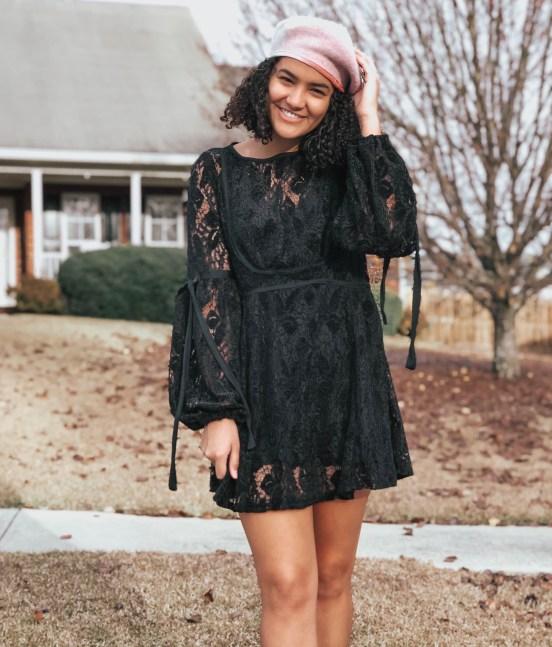 lace-dress-pink-beret-twenty-winter-outfit-ideas