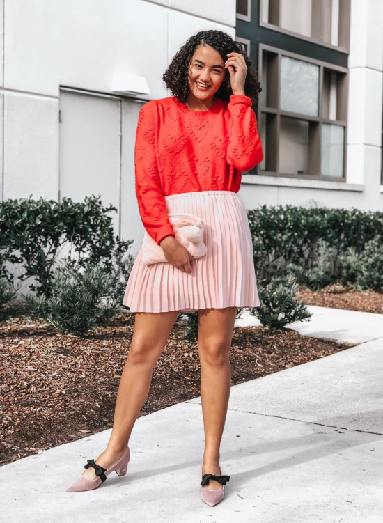 Red Sweater and Pink Pleated Mini Skirt Valentine's Day Outfit Ideas