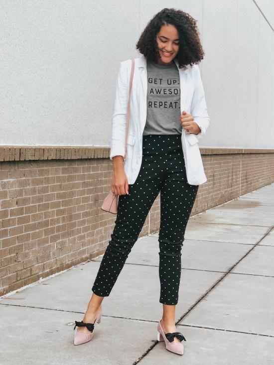 white-blazer-polka-dot-pants-three-feminine-ways-to-style-a-masculine-blazer