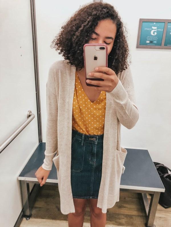 Tan Duster Cardigan Yellow Polka Dot Tank Top Blue Denim Skirt