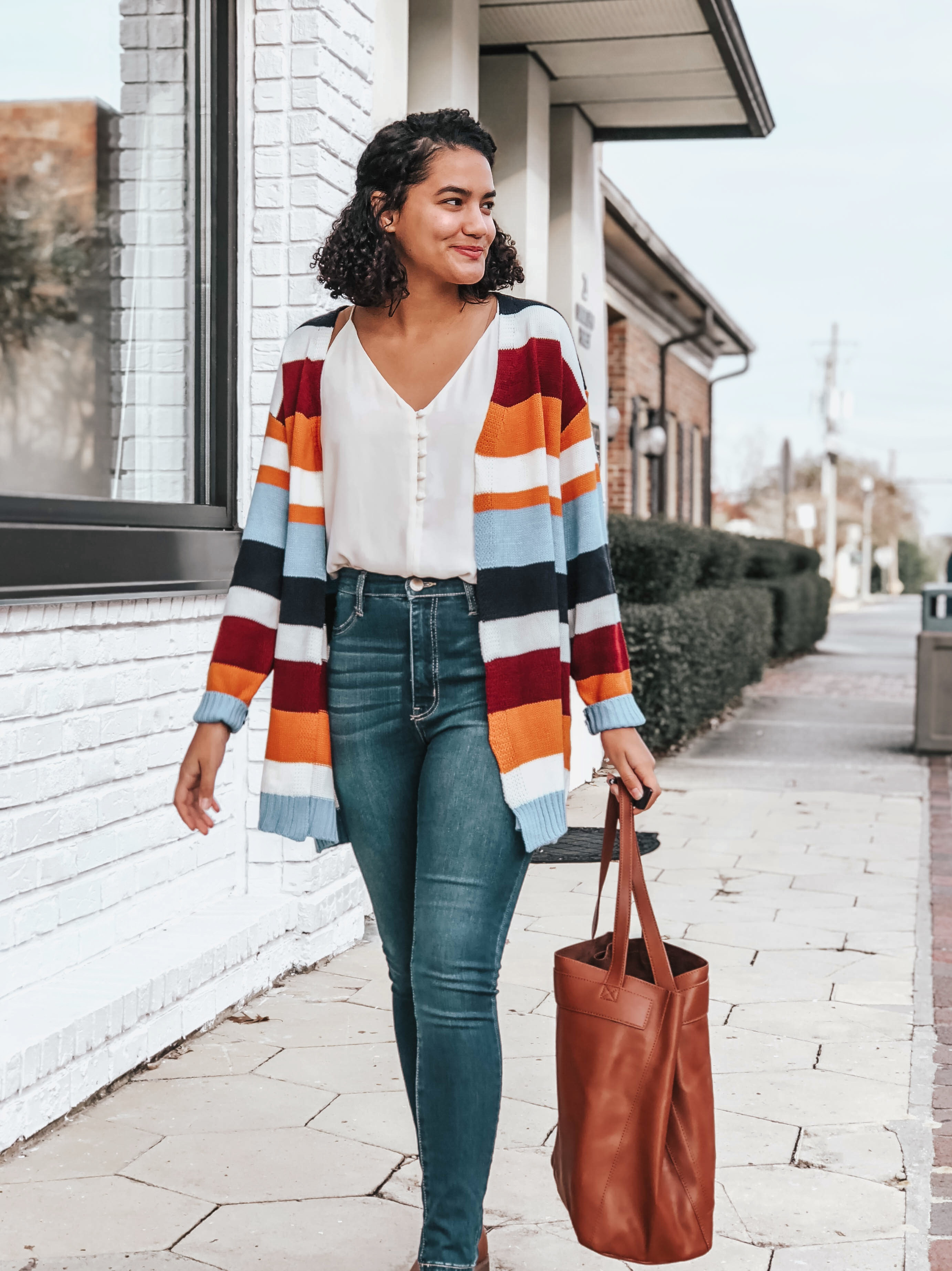 Striped Cardigan, Button Front Cami, Dark Wash Jeans