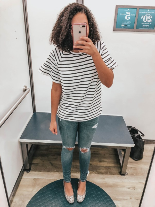 Striped Top with Busted Knee Skinny Jeans and Glitter Block Heels