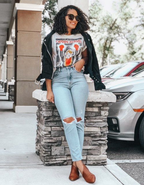 Mom Jeans, Black Moto Jacket, Captain Marvel Graphic Tee, Cognac Booties, Sunglasses
