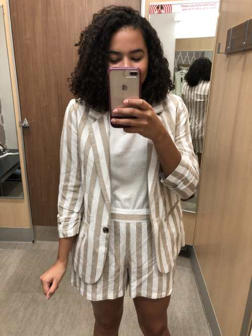 Striped Blazer and Striped Shorts Set Target Try-On Haul