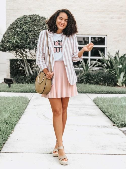 Striped Blazer, Pink Pleated Skirt, Espadrille Sandals