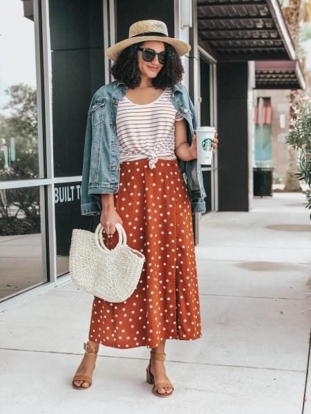 Striped Tee, Polka Dot Maxi Skirt, Woven Handbag, Straw Boater Hat, Denim Jean Jacket