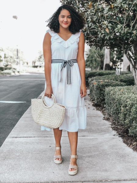 White Midi Dress Vineyard Vines for Target, Woven Tote Bag, Taupe Espadrille Sandals