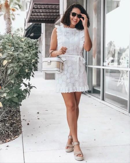White Ruffle Tie Waist Dress from Amazon, Taupe Espadrille Sandals, White and Jute Box Bag, Sunglasses